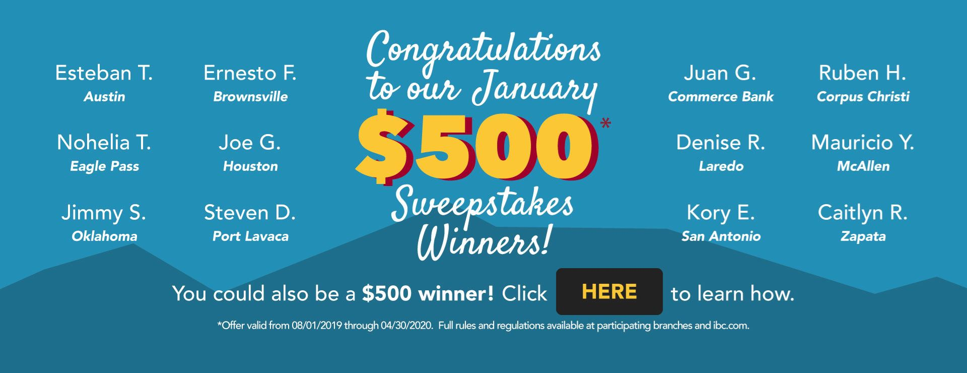 February 2020 - Sweepstakes Winners