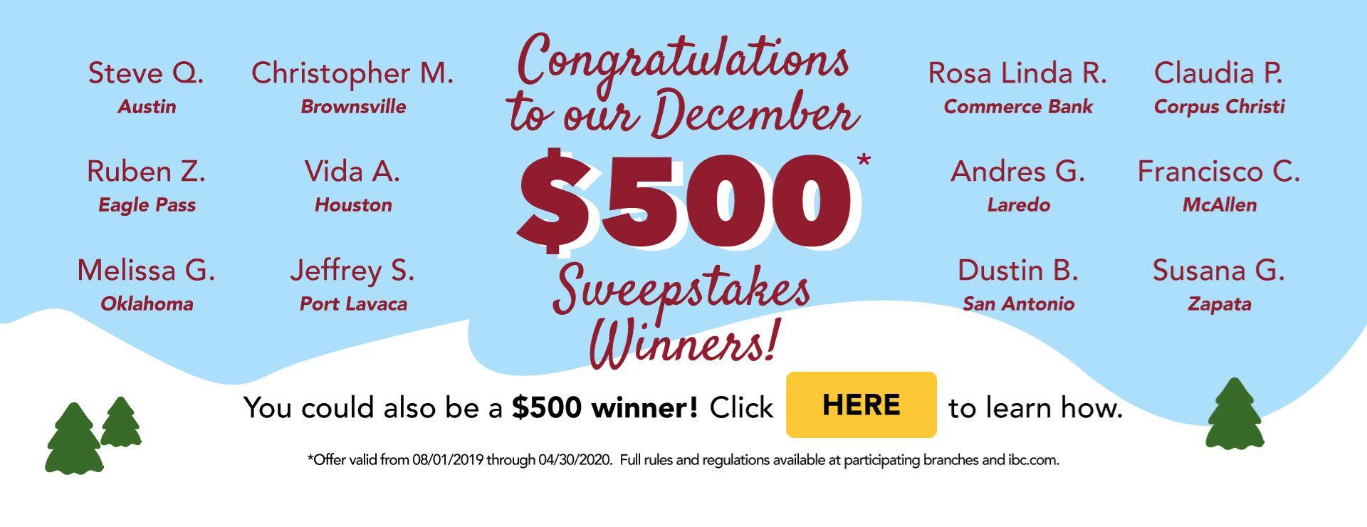 December Sweepstakes Winners