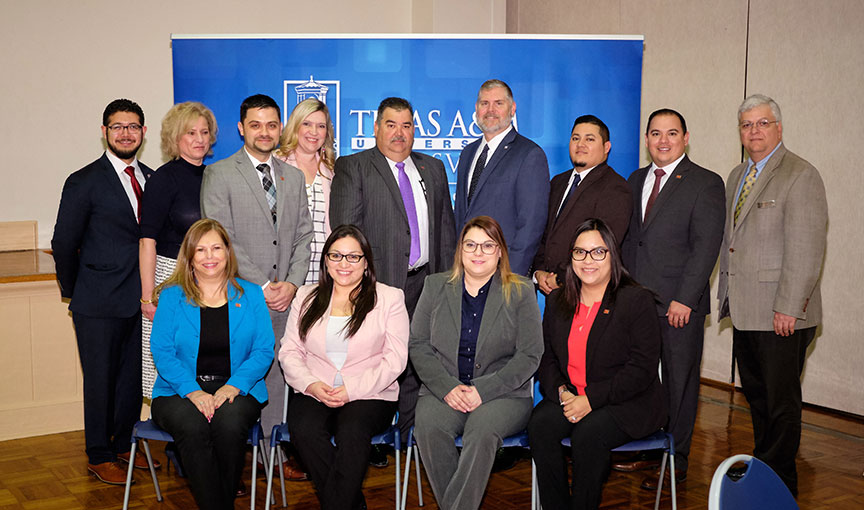 IBC Bank-Zapata managers and officers, and faculty from the TAMUK College of Business Administration pose with with Chris Furlow, CEO Texas Bankers Association